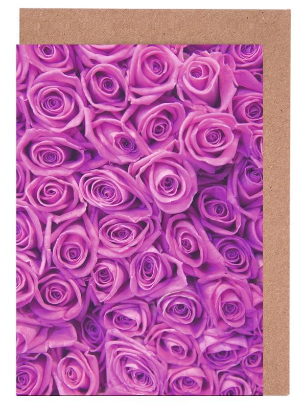 Purple Roses -Grußkarten-Set