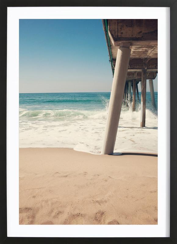 Hermosa Beach Pier affiche sous cadre en bois