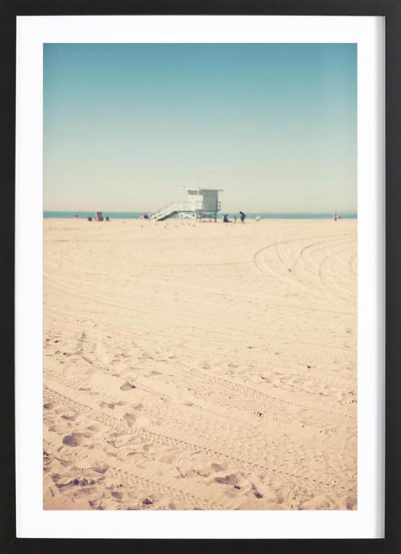 Santa Monica Beach Hut -Bild mit Holzrahmen