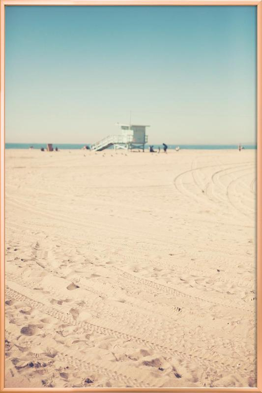 Santa Monica Beach Hut -Poster im Alurahmen