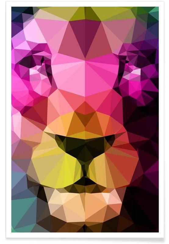 Geometrische neon leeuw poster