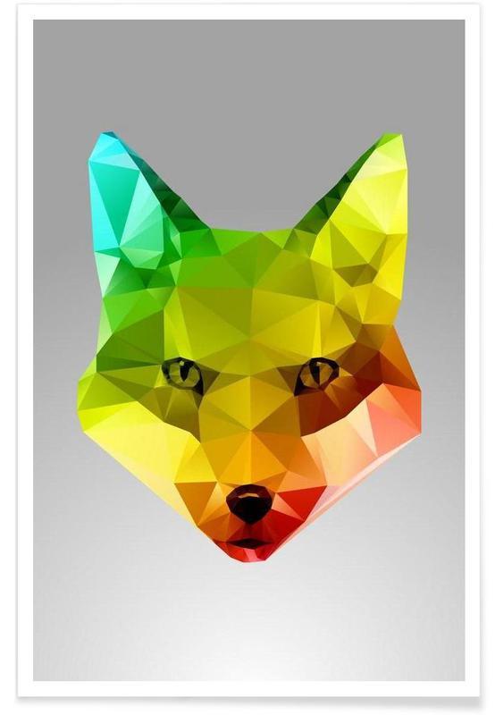 Renards, Portrait de renard géométrique affiche