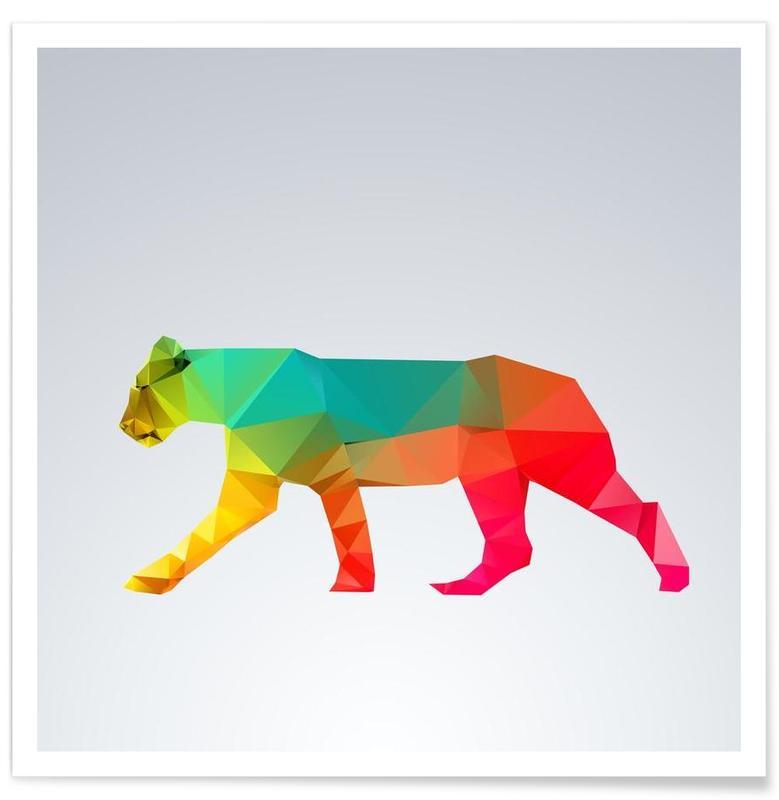 Lions, Lionne géométrique affiche