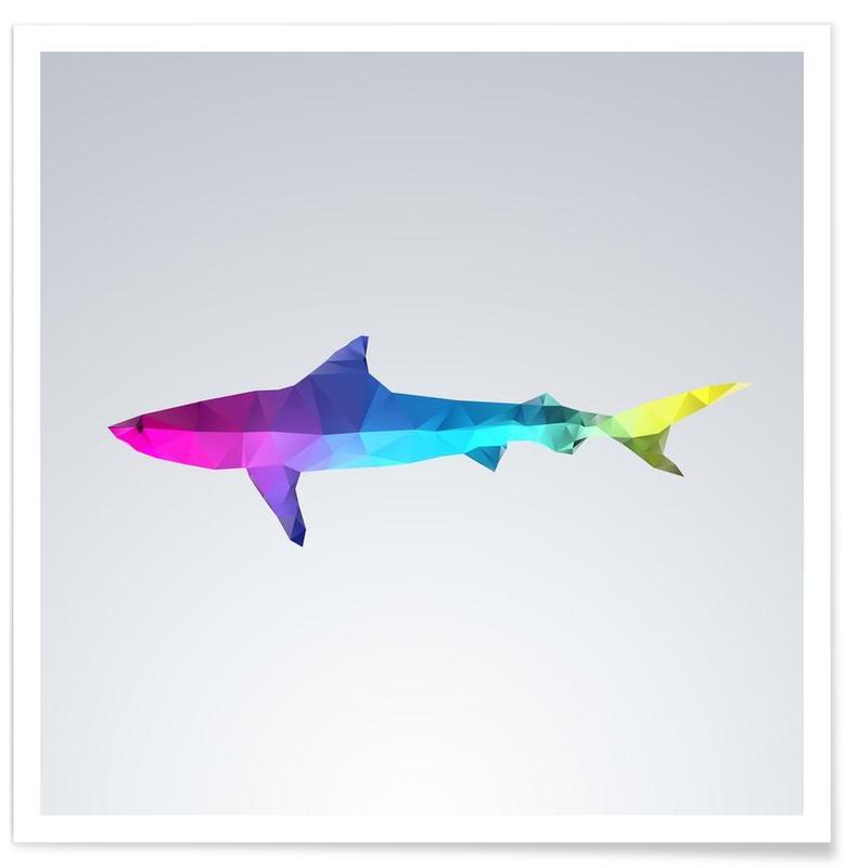 Geometrischer Hai-Bunt -Poster
