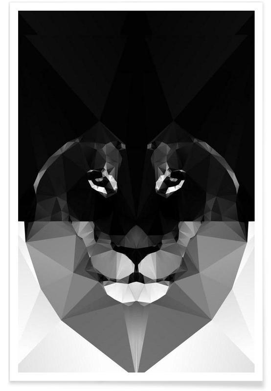 Lion monochrome géométrique affiche