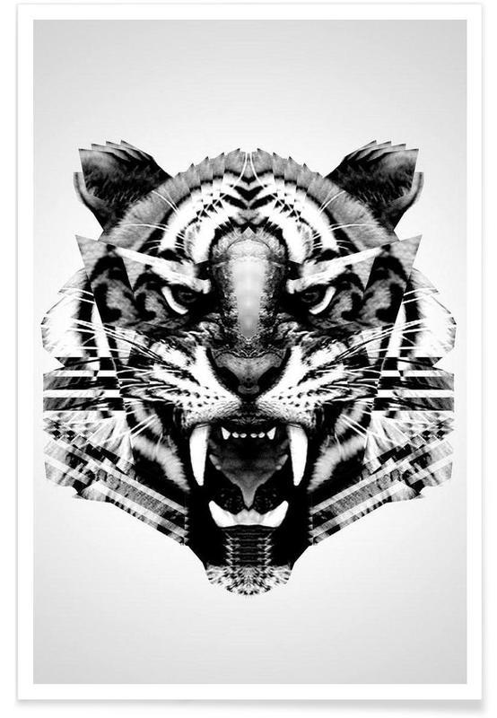 Noir & blanc, Tigres, Tigre géométrique affiche