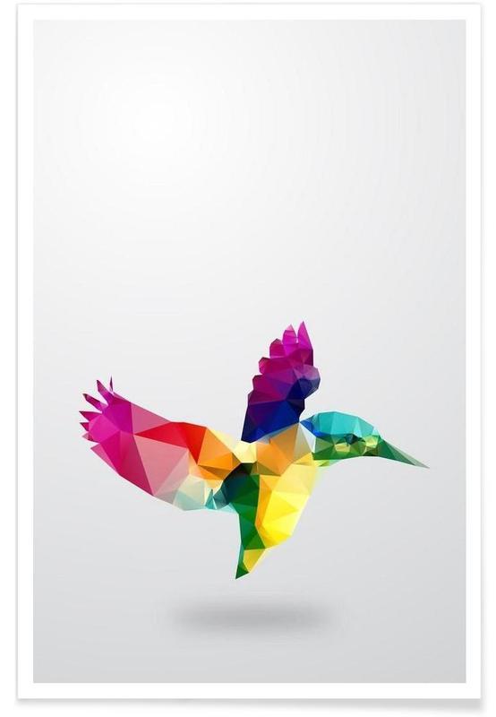 Geometrische vogel poster