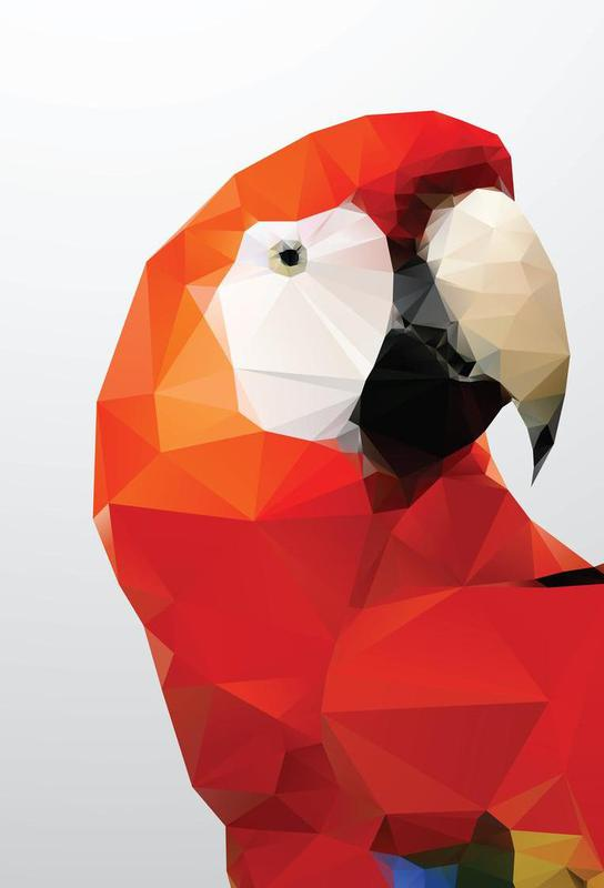 Geo Parrot Red Aluminium Print