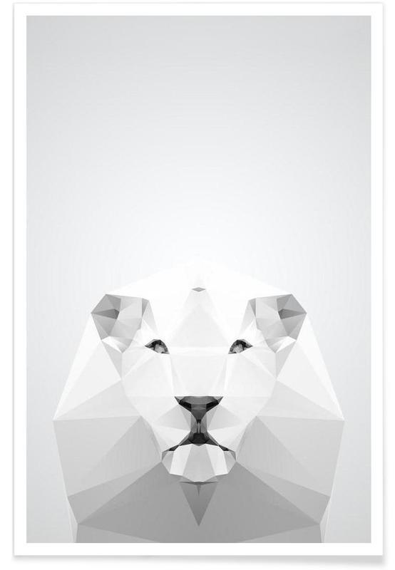 Noir & blanc, Lions, Lion blanc géométrique affiche