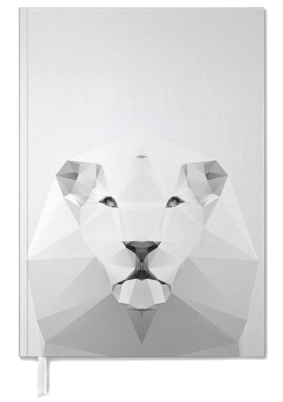 Black & White, Lions, Geo White Lion Personal Planner