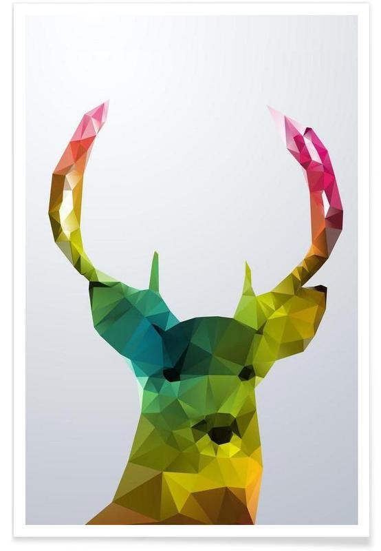Cerf géométrique affiche