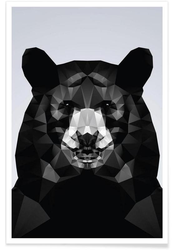 Ours, Noir & blanc, Ours noir géométrique affiche