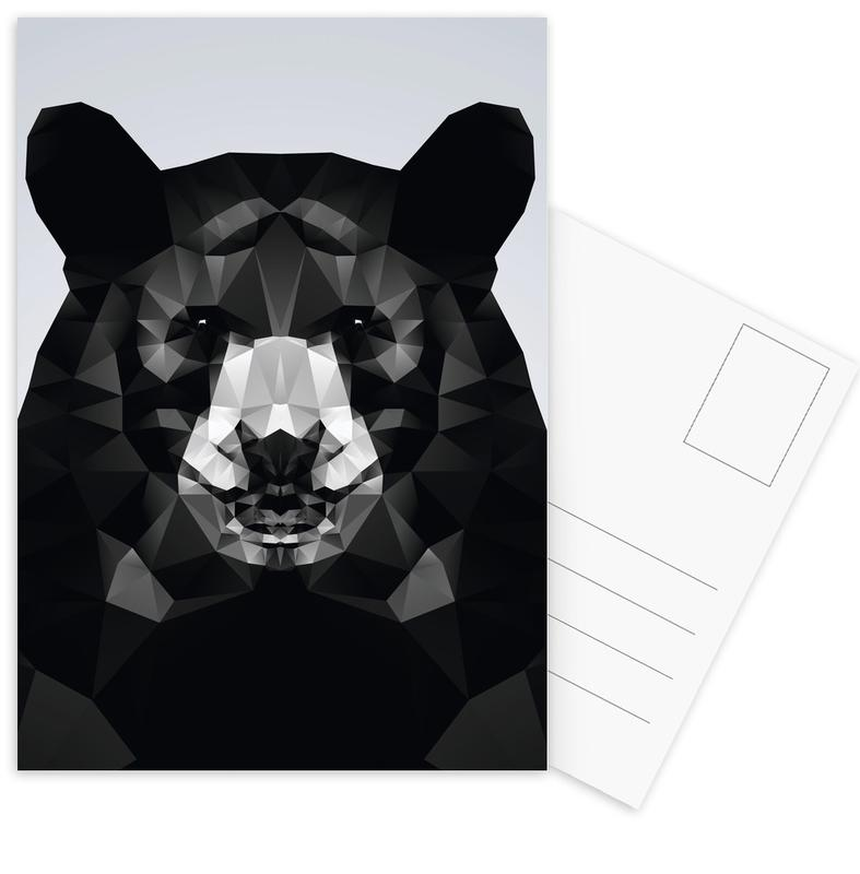 Geo Black Bear Postcard Set