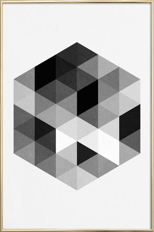 Geo Hex -Poster im Alurahmen