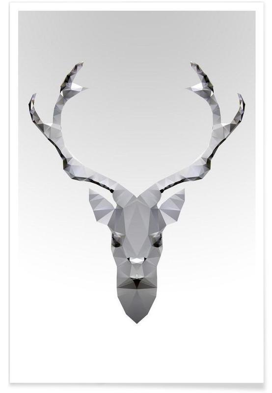 Cerfs, Noir & blanc, Cerf blanc géométrique affiche