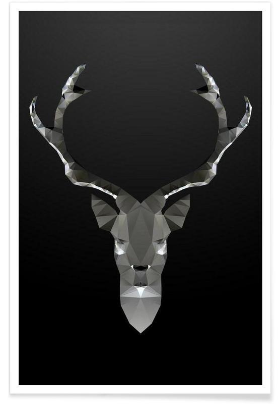 Cerfs, Noir & blanc, Cerf noir géométrique affiche