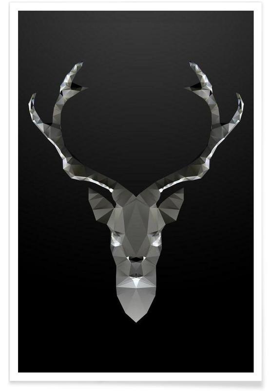 Geometric Deer Black Poster