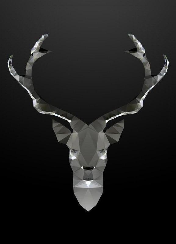 Geo Black Deer canvas doek