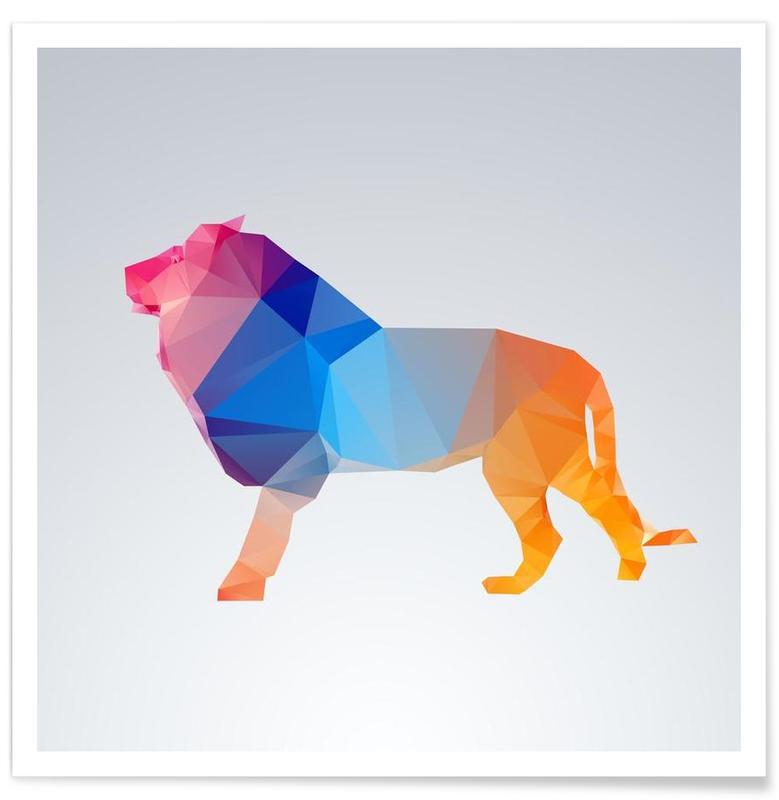 Geometrischer Löwe-Bunt -Poster