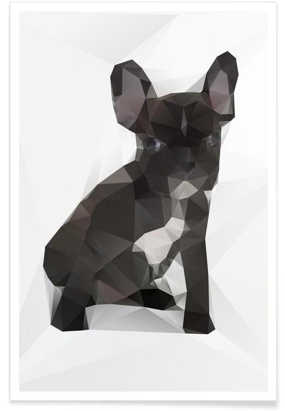 Geometric Bulldog Poster