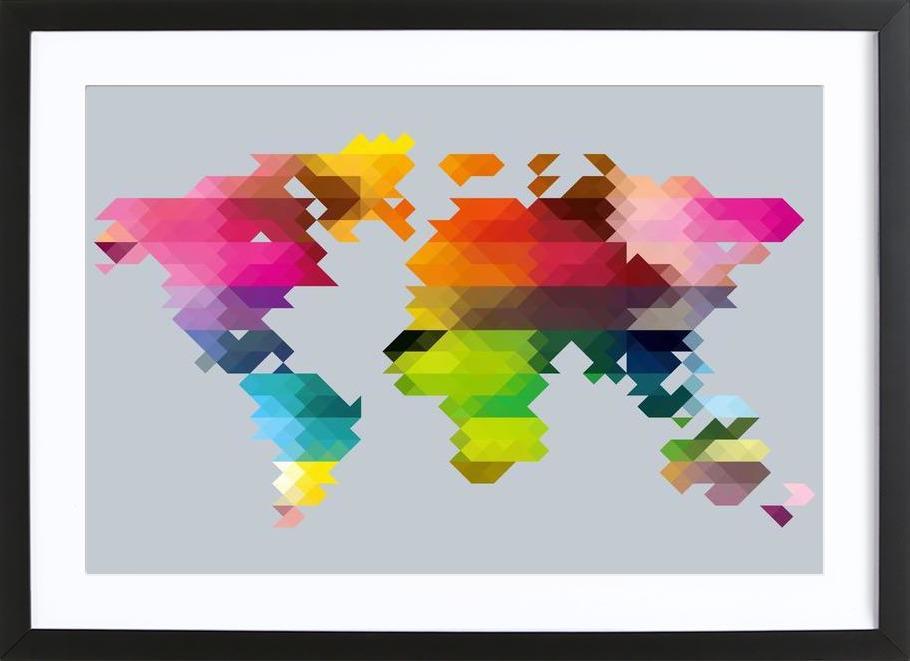 Geo World Map Framed Print