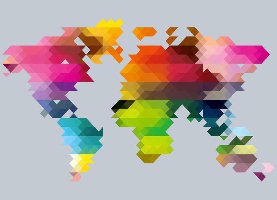 Geo World Map canvas doek