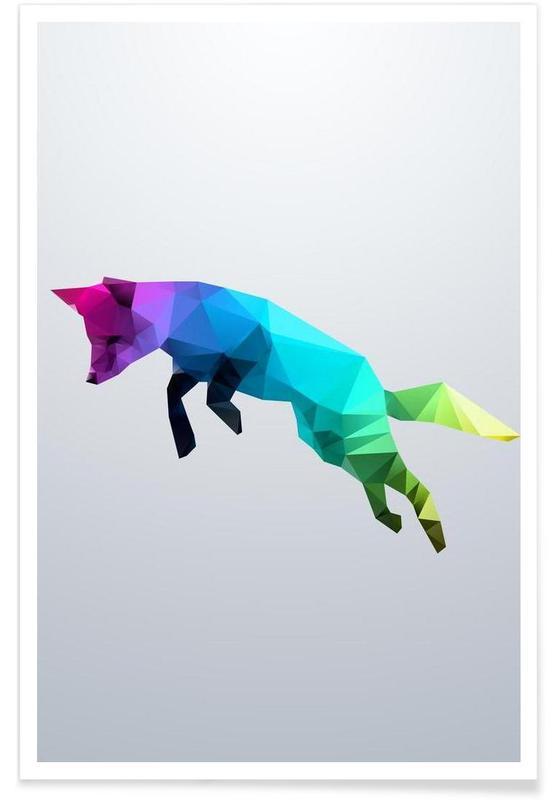 Geometrischer Springender Fuchs -Poster