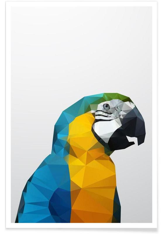 Geometric Parrot Yellow Poster