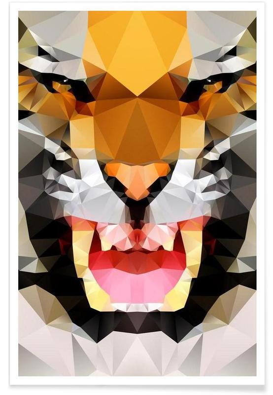 Tigres, Tigre rugissant géométrique affiche