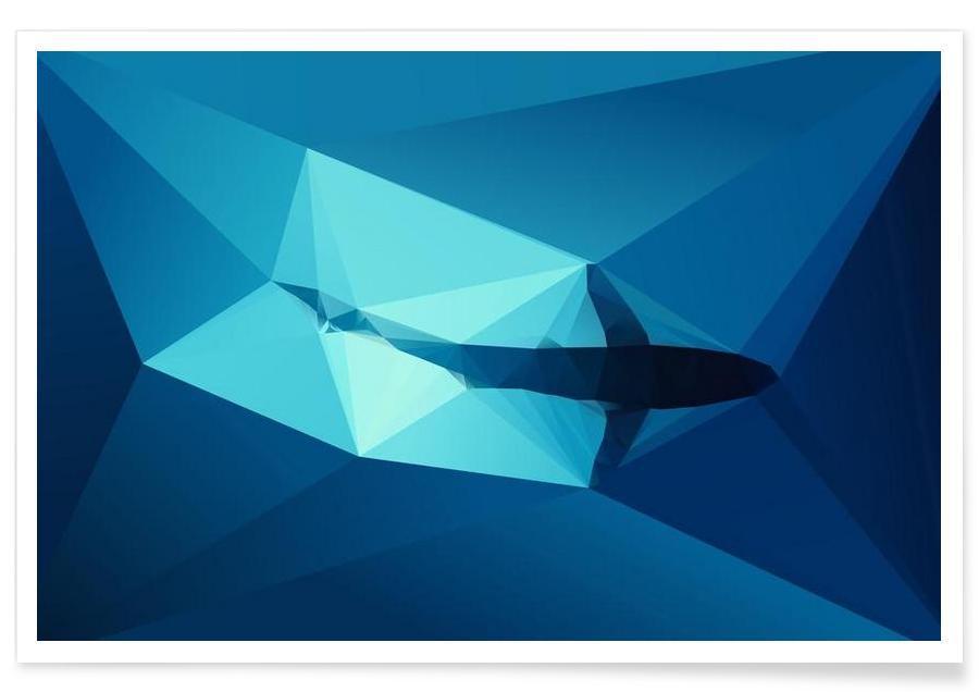 Requins, Requin bleu géométrique affiche