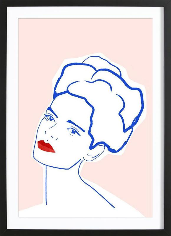 Girl With Red Lips affiche sous cadre en bois