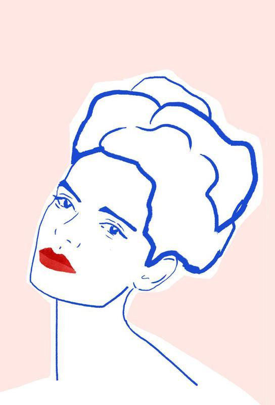 Girl With Red Lips tableau en verre