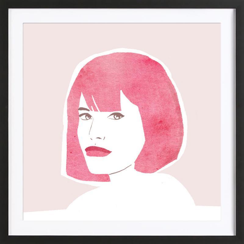 Pink Hair Girl affiche sous cadre en bois