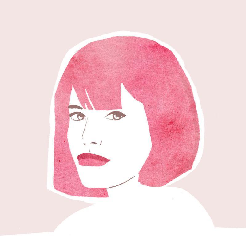 Pink Hair Girl Aluminium Print