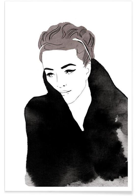 Modeillustration, Lady In Black -Poster