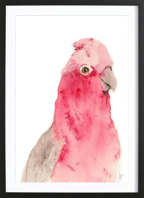 Pink Parrot -Bild mit Holzrahmen