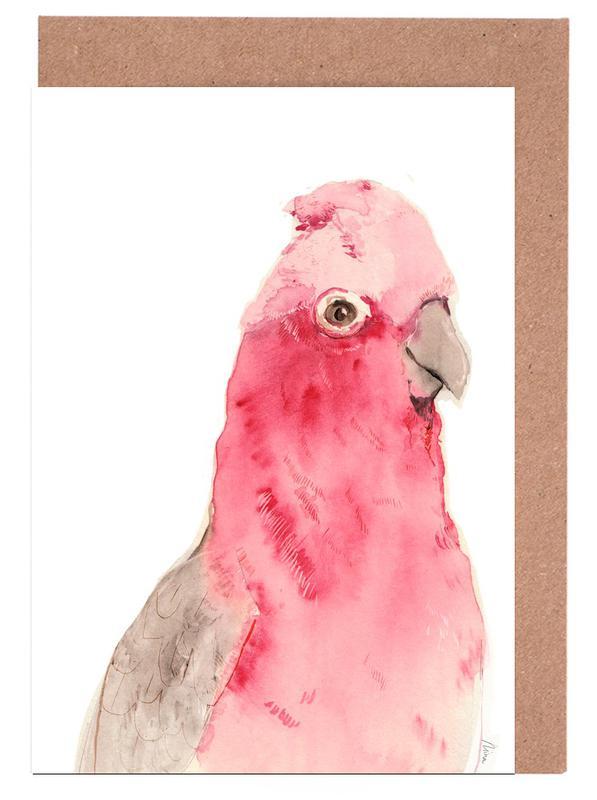 Pink Parrot Greeting Card Set
