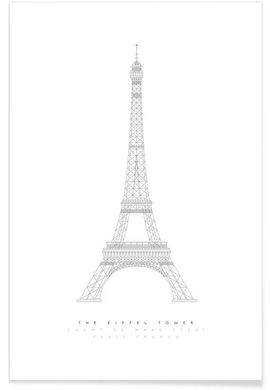 Plan de la tour Eiffel affiche
