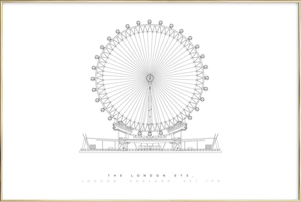 The London Eye -Poster im Alurahmen