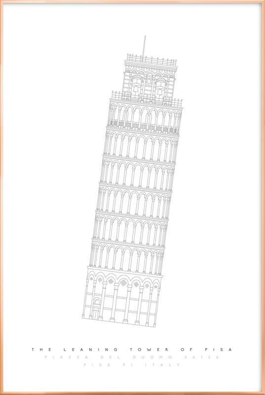 Tower Of Pisa -Poster im Alurahmen