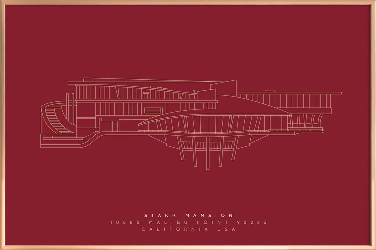 Stark Mansion Dark Red -Poster im Alurahmen