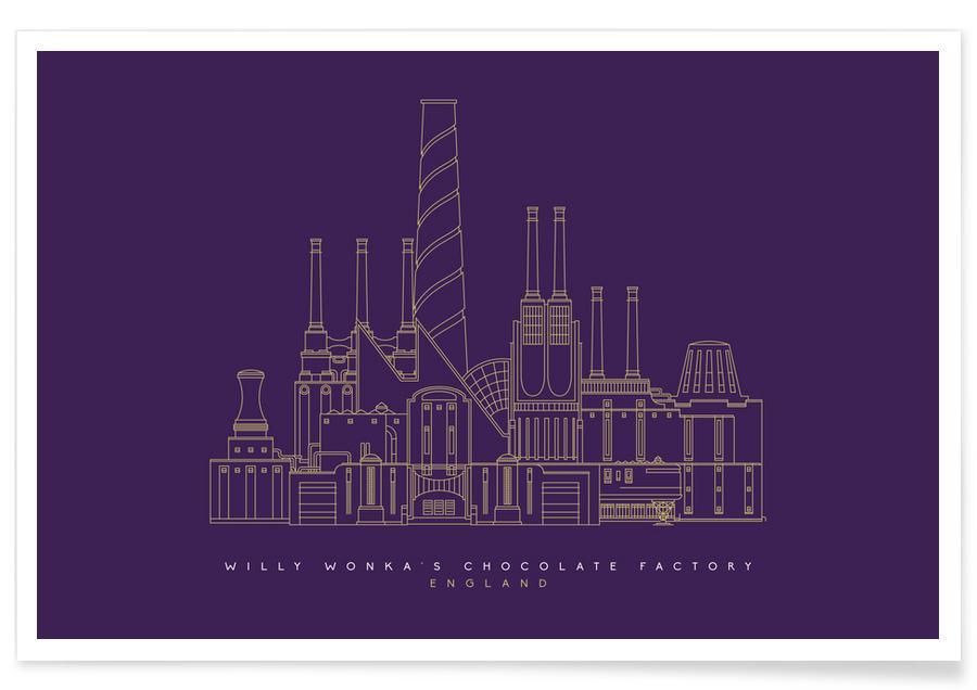 Films, Wonka's chocoladefabriek paarse blauwdruk poster