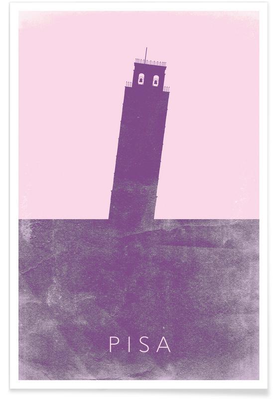Reizen, Bezienswaardigheden en monumenten, Toren van Pisa II blauwdruk poster