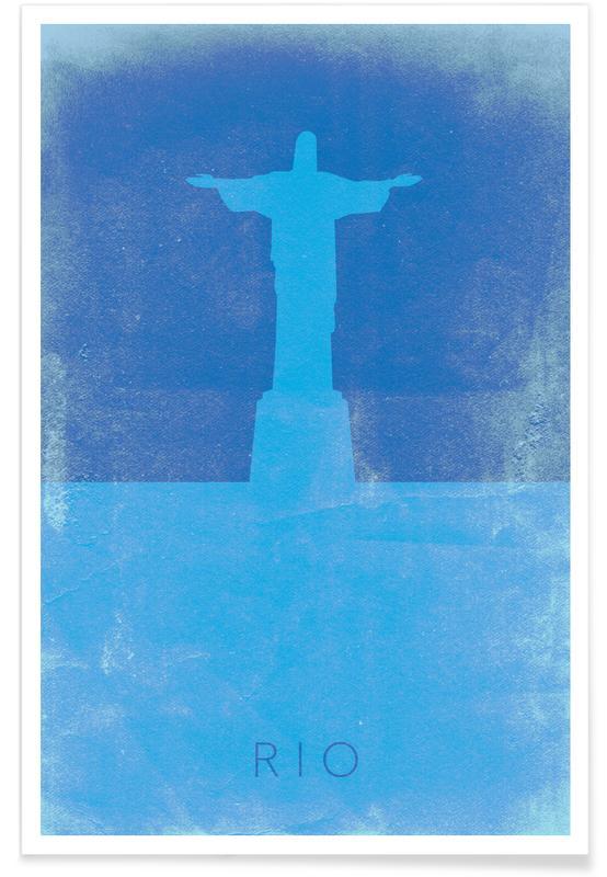 Rio de Janeiro, Sights & Landmarks, Travel, Christ the Redeemer Minimalist Poster