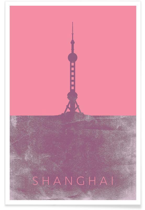 Reizen, Bezienswaardigheden en monumenten, Shanghai Pearl Tower blauwdruk poster