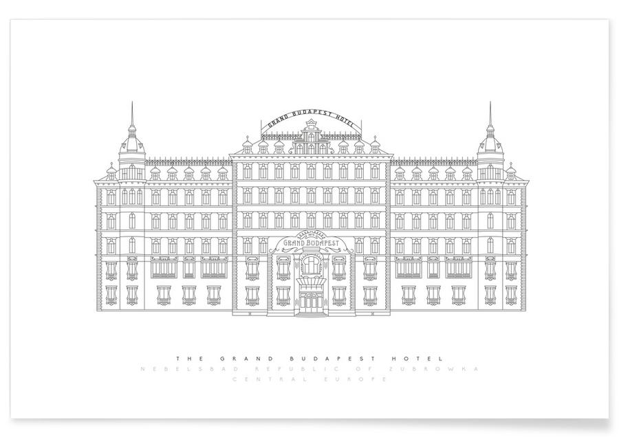 Films, Grand Budapest Hotel blauwdruk poster