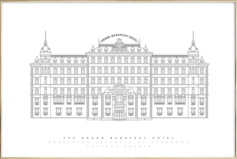 Grand Budapest Hotel -Poster im Alurahmen