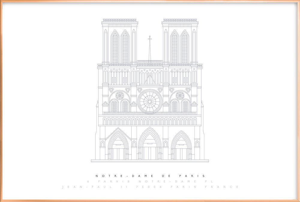 Notre Dame -Poster im Alurahmen