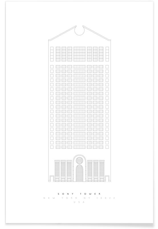 Wolkenkrabbers, Bezienswaardigheden en monumenten, The Sony Building blauwdruk poster