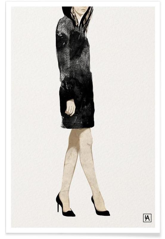 Zwart en wit, Mode-illustratie, BB Lady 2 poster